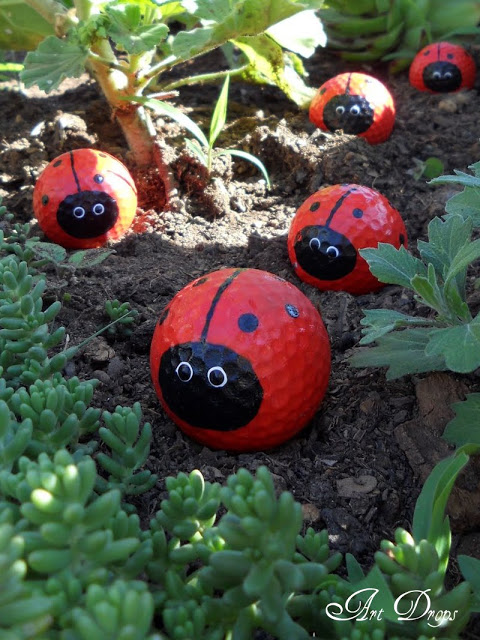 DIY Golf Ball Ladybugs