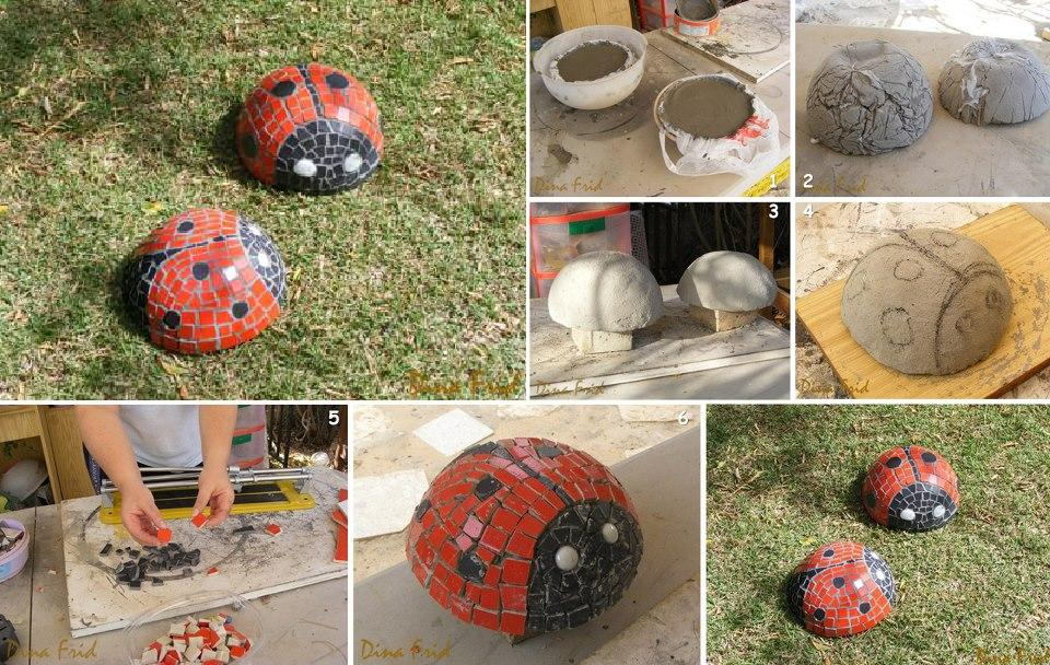 lovely decorative concrete ladybugs - Diy Garden Ideas