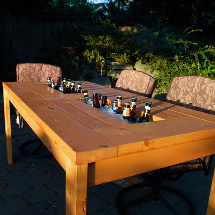 Lovely Patio Table With Embedded Beer And Wine Coolers