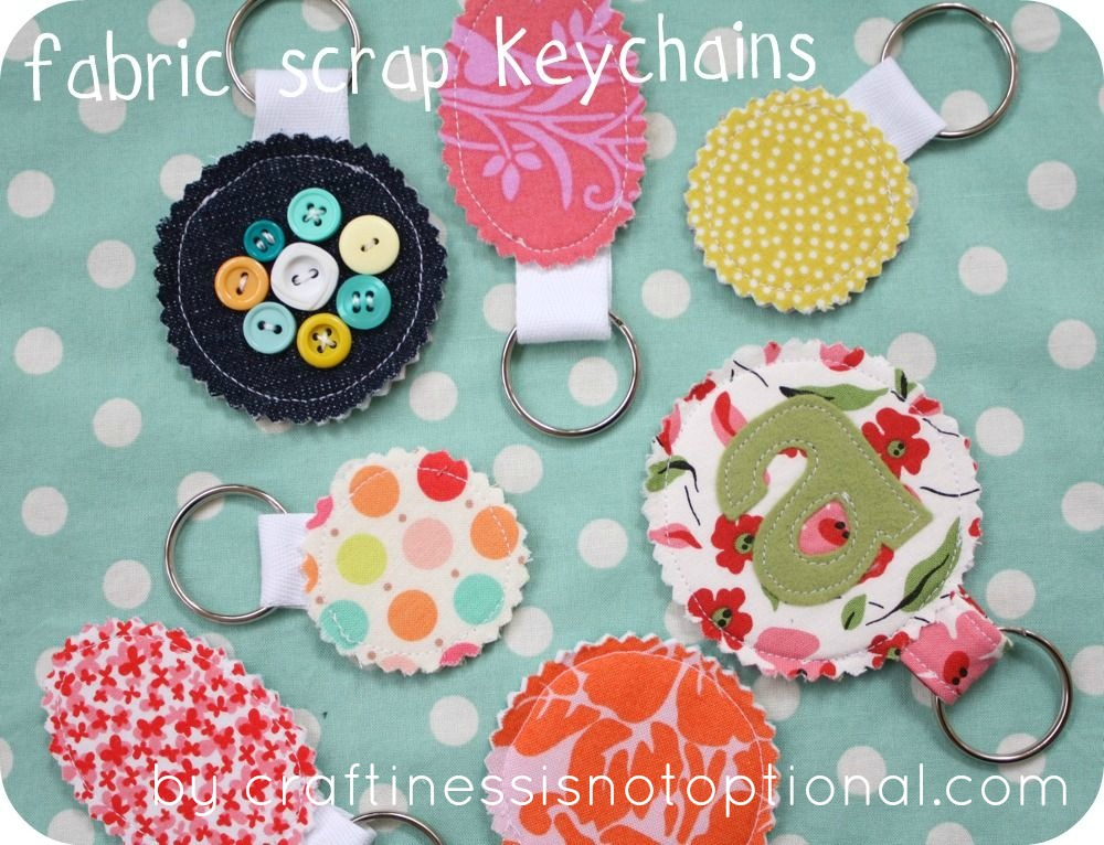 Make Your Mom A Fabric Scrap Keychain
