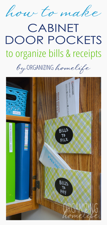 Organize Your Bills And Receipts With Cabinet Door Pockets