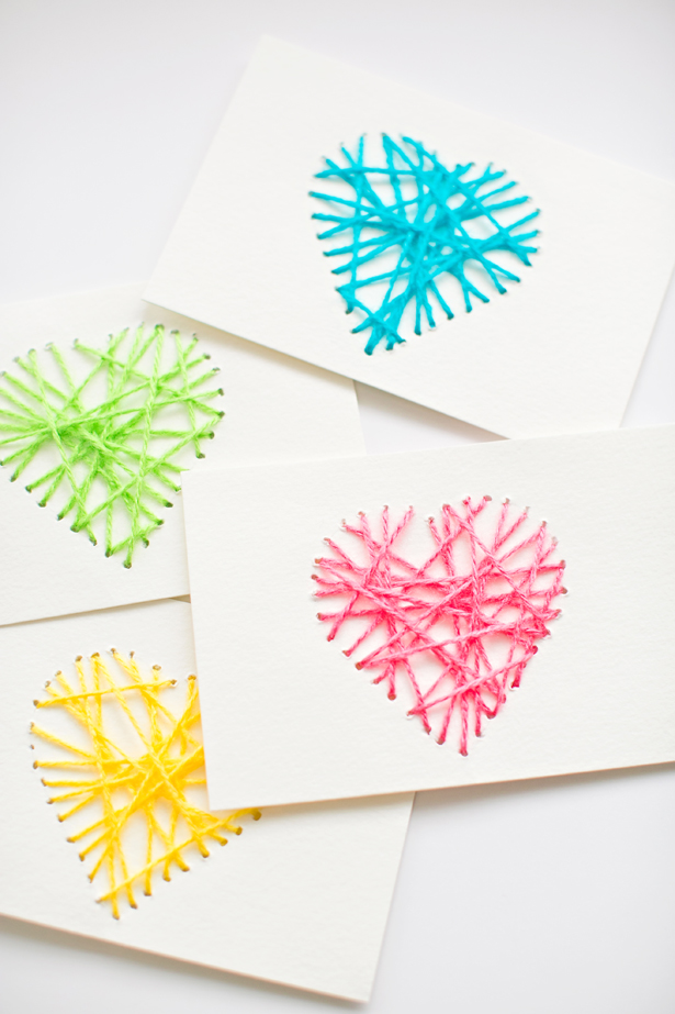 String Heart Yarn Cards