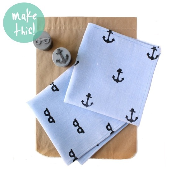 DIY Hand Stamped Handkerchief