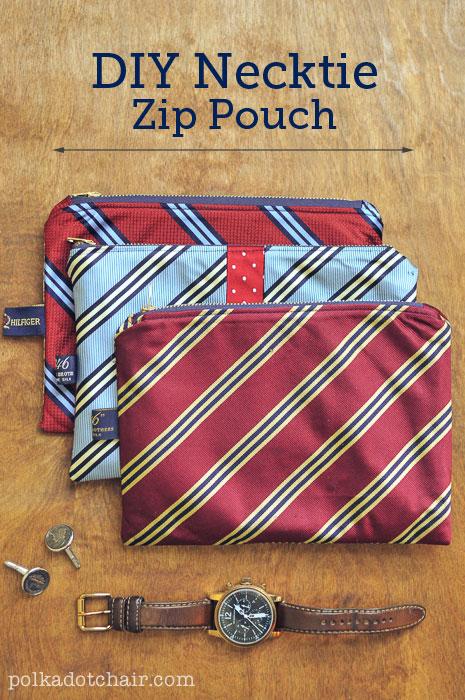 Homemade Necktie Zip Pouch