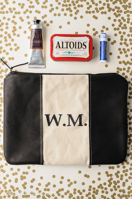 Monogrammed Leather Zip Pouch