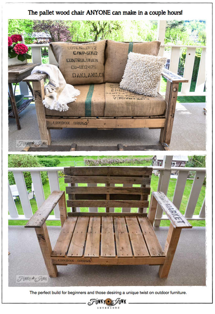 Pallet Wood Chair. 20 DIY Pallet Patio Furniture Tutorials For A Chic And Practical