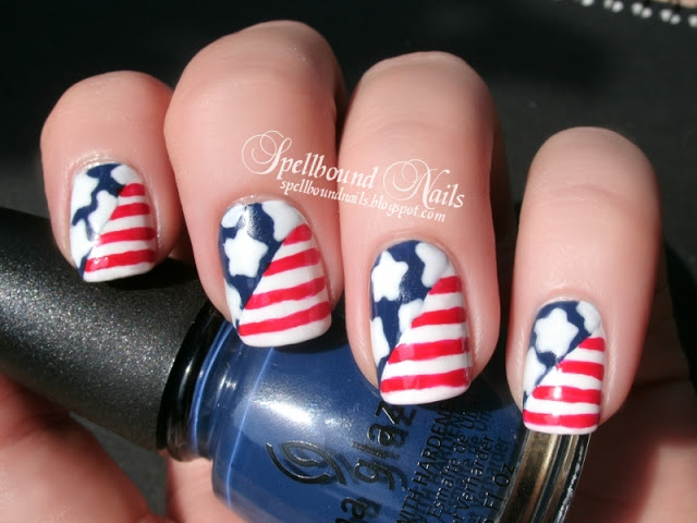 20 amazing patriotic nail designs for the 4th of july cute diy 4 4th of july nail ideas prinsesfo Choice Image