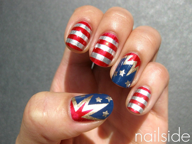 20 amazing patriotic nail designs for the 4th of july cute diy 4th of july nails prinsesfo Choice Image