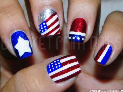 Blanket Print Nails: - 20+ Amazing Patriotic Nail Designs For The 4th Of July – Cute DIY