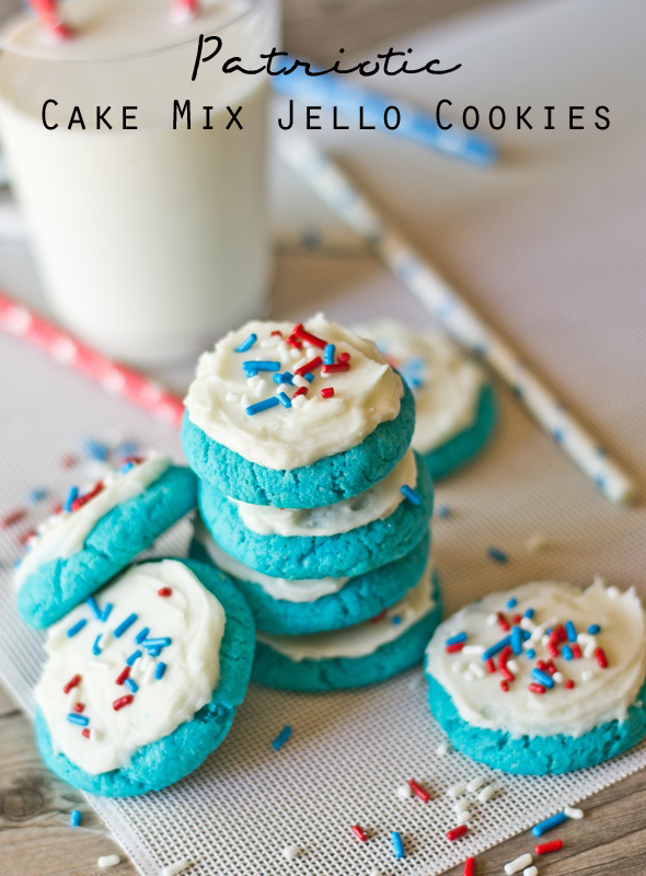 Patriotic Jello Cake Mix Cookies