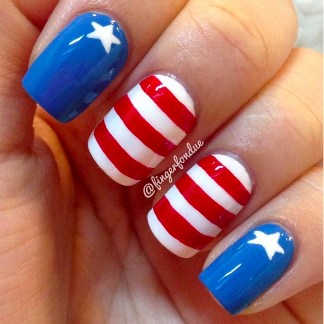 20 amazing patriotic nail designs for the 4th of july cute diy nail art idea for 4th of july prinsesfo Choice Image