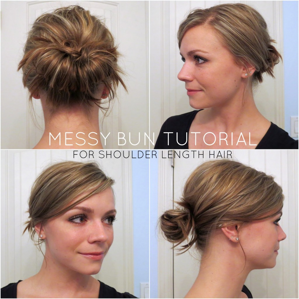 Top 25 messy hair bun tutorials perfect for those lazy mornings simple messy bun for medium long hair urmus Gallery