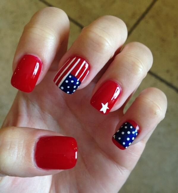 Simple Nail Art for the 4th: - 20+ Amazing Patriotic Nail Designs For The 4th Of July – Cute DIY