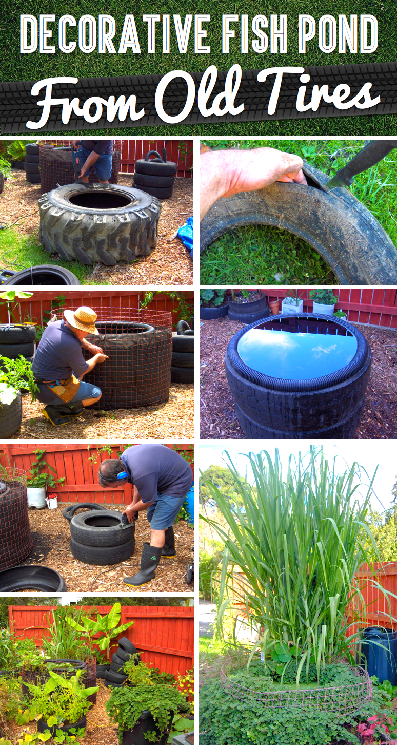 How to Make a Decorative Fish Pond From Old Tires