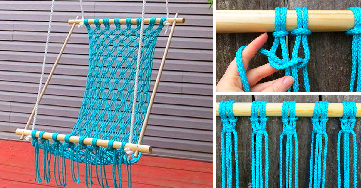 Make an amazing diy hammock using macrame cute diy projects - How to make hammock at home ...