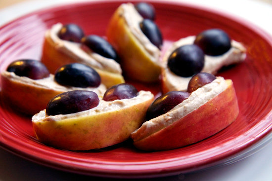 Peanut Buttery Apples with grapes