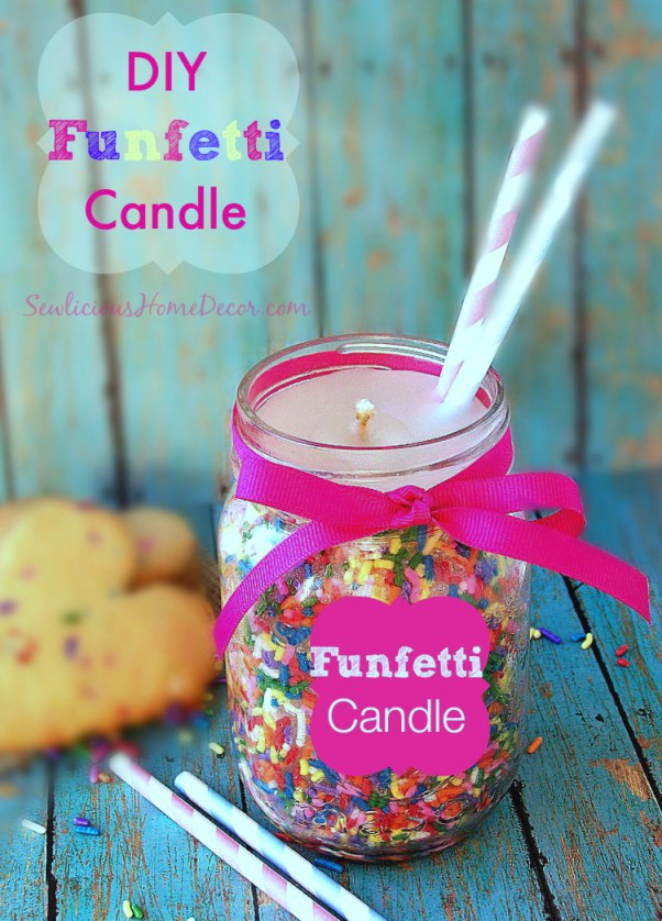 DIY Funfetti Candles Made from Candy Sprinkles