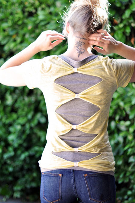 37 truly easy no sew diy clothing hacks page 2 of 2 cute diy diy t shirt bow solutioingenieria Gallery