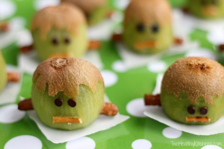 Frankenstein Kiwis : Healthy Halloween Treat