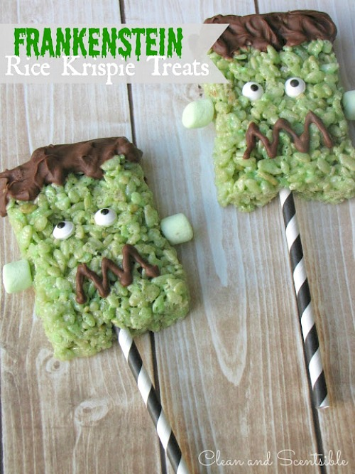 Frankenstein Rice Krispie Treats and Printables
