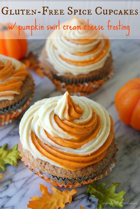 40. Gluten-Free Spice Cakes With Pumpkin Swirl Cream Cheese Frosting