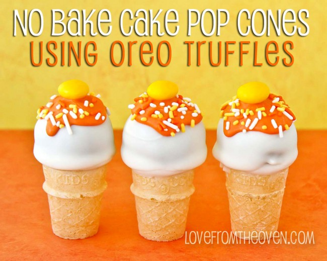 NO BAKE OREO CAKE POP CONES FOR HALLOWEEN