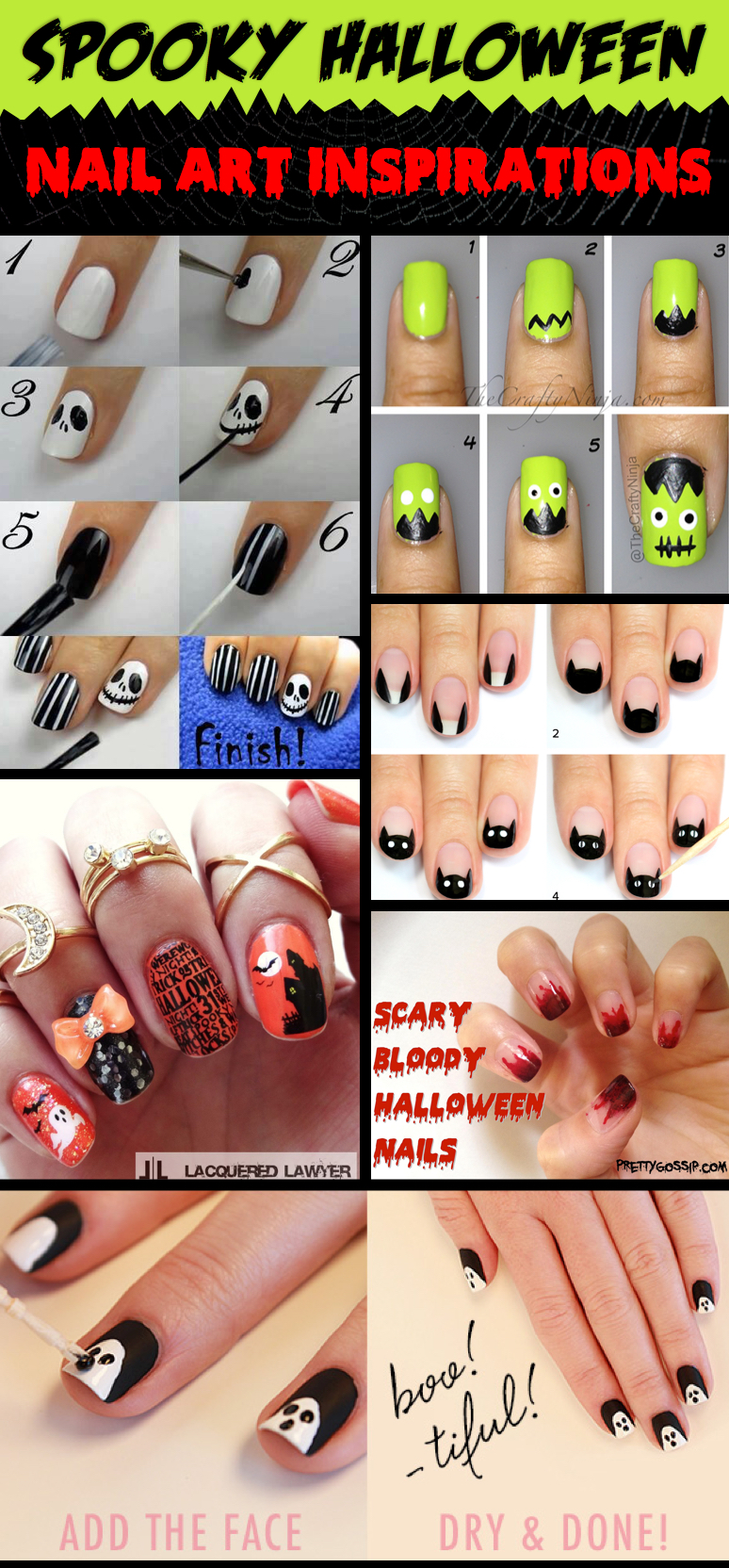 Fashion style Nail Frightened art ideas for halloween for girls