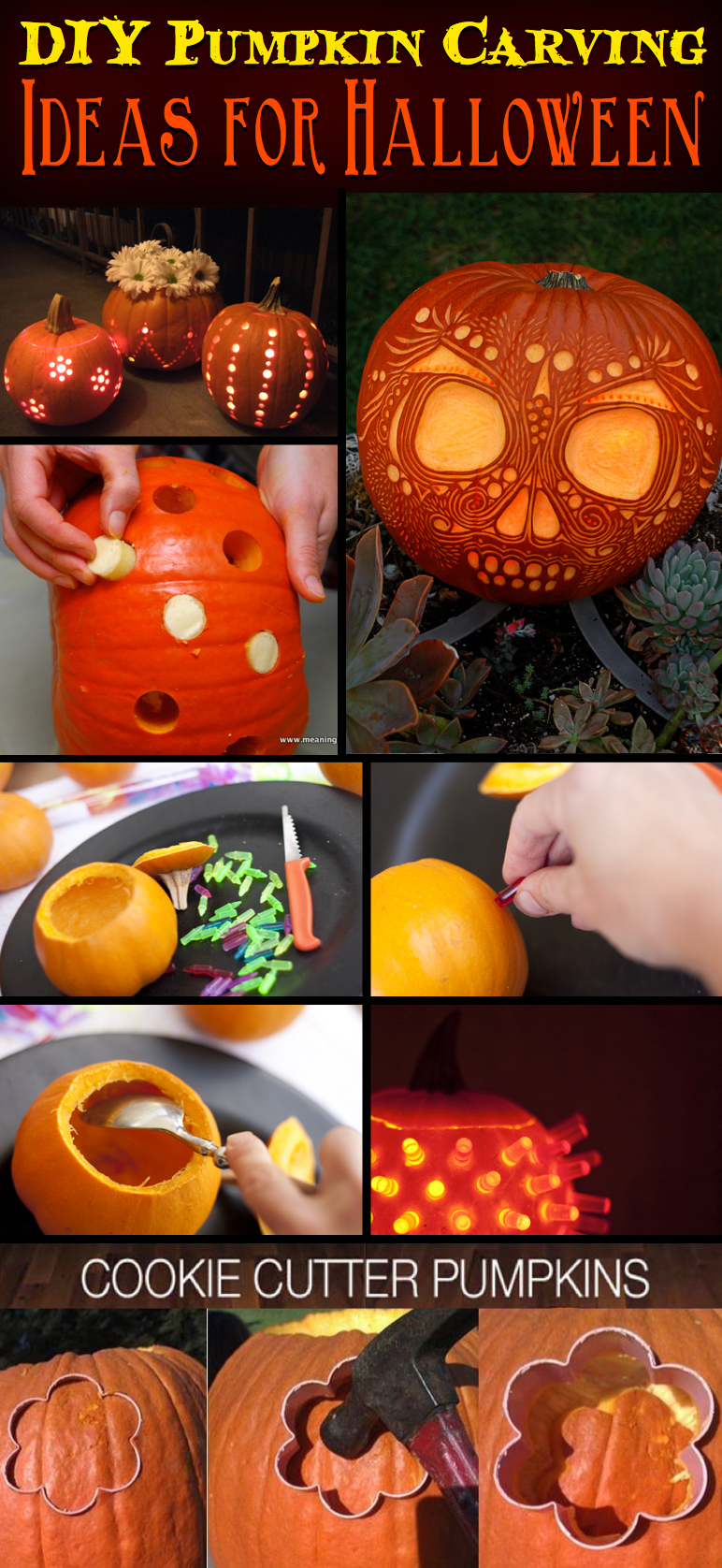 49 Easy, Cool DIY Pumpkin Carving Ideas for Halloween 2017