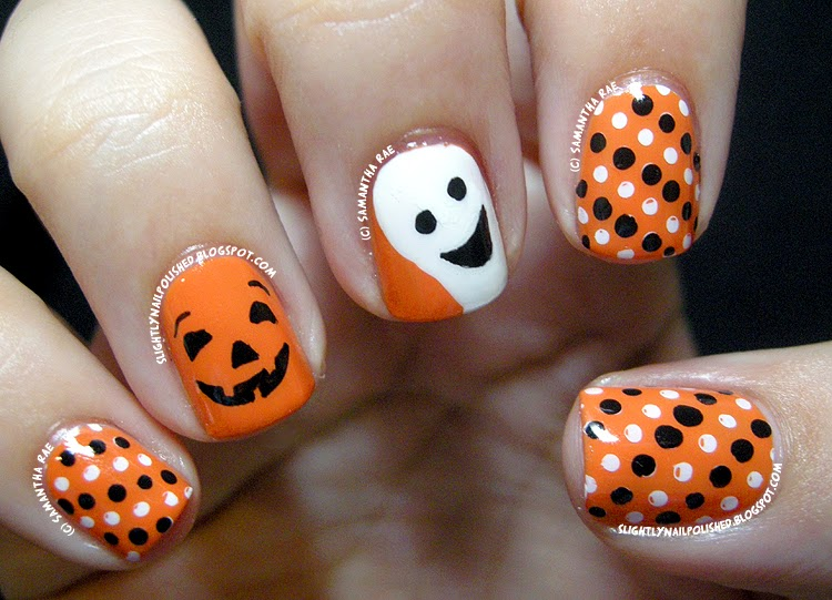 a happy pumpkin and ghost nail art - Halloween Easy Nail Art
