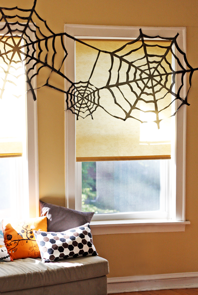Cheap Halloween Decoration : Trash Bag Spiderwebs