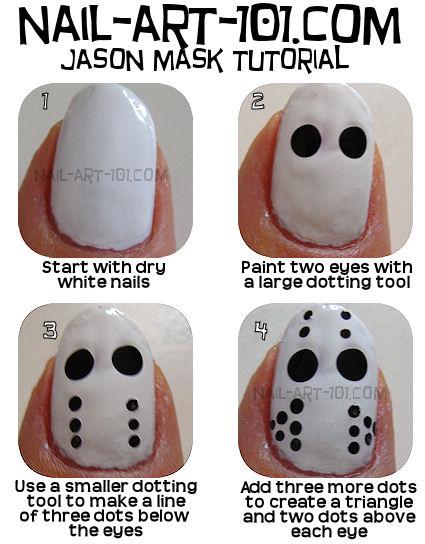 DIY Halloween Nails : Jason Mask Tutorial
