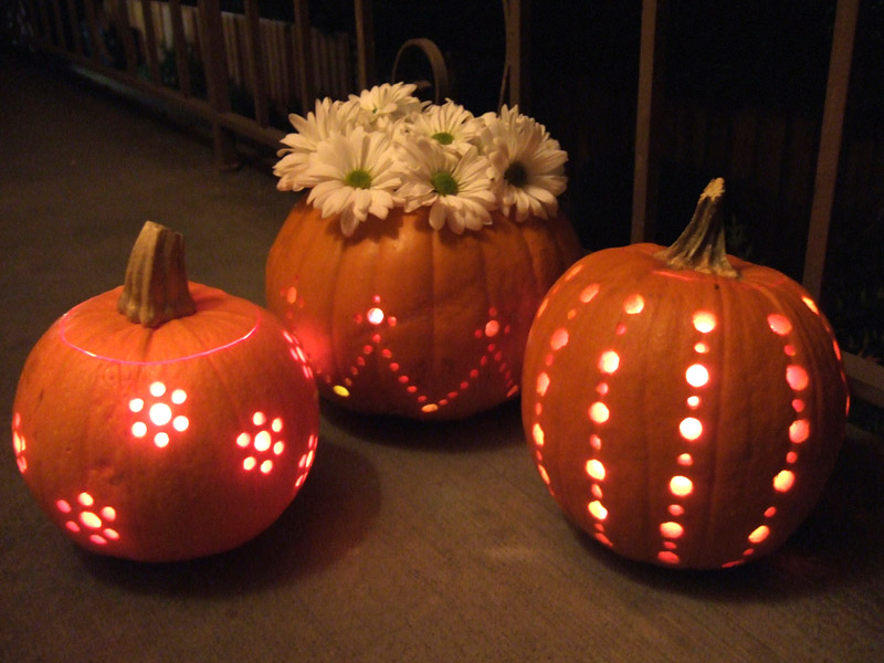 drilled pumpkin vases - Cool Halloween Pumpkin Designs
