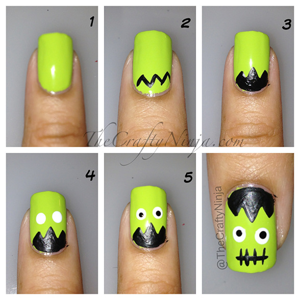 40 best halloween nail art inspirations for 2017 frankenstein nail tutorial prinsesfo Image collections