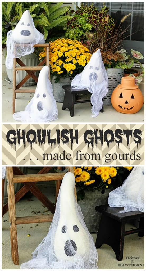 5 ghosts made from gourds - Easy Outdoor Halloween Decorations