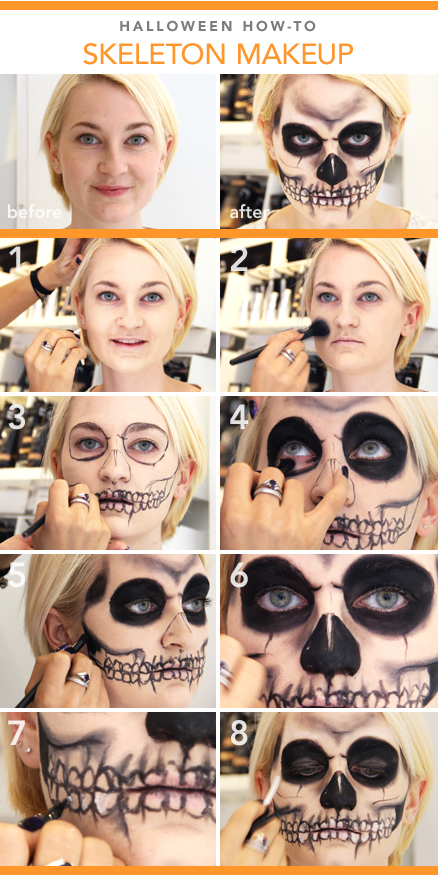 diy halloween makeup skeleton