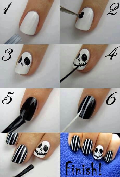 Halloween Nail Art Design : Jack Skellington - 40 Best Halloween Nail Art Inspirations For 2017