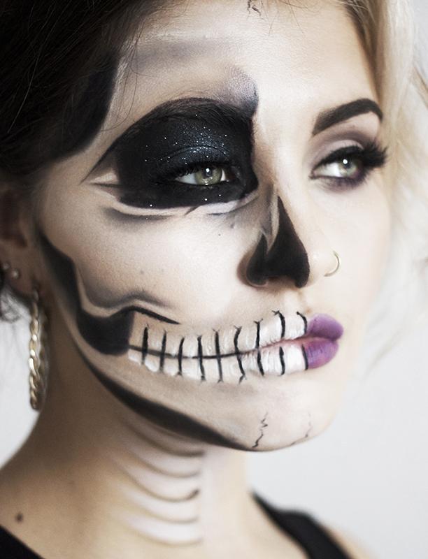 Halloween Makeup Half Face Tutorial Wwwimgarcadecom Online Image