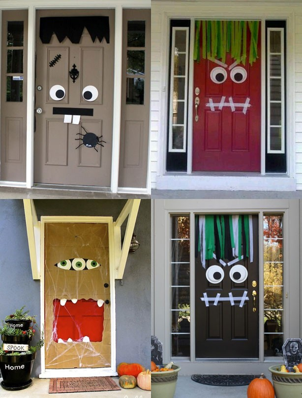 Cheap Halloween Decorations Part - 22: Halloween Party Ideas: Monster Doors