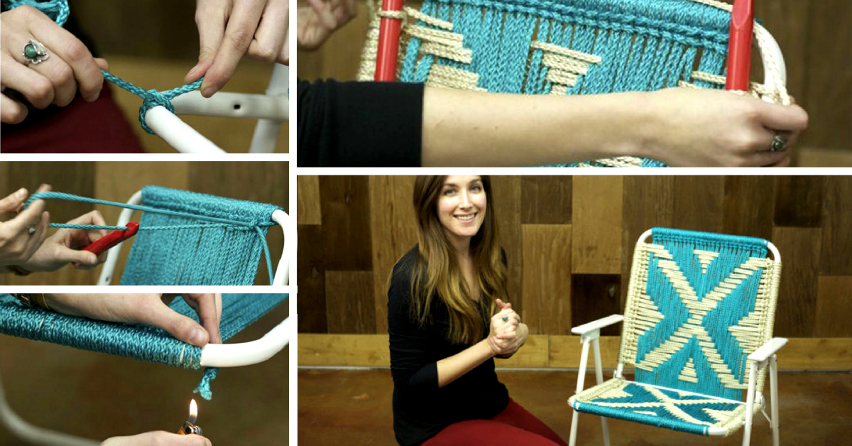 Transform Old Lawn Chairs Into Brand New Diy Macrame Seats Cute Diy Projects