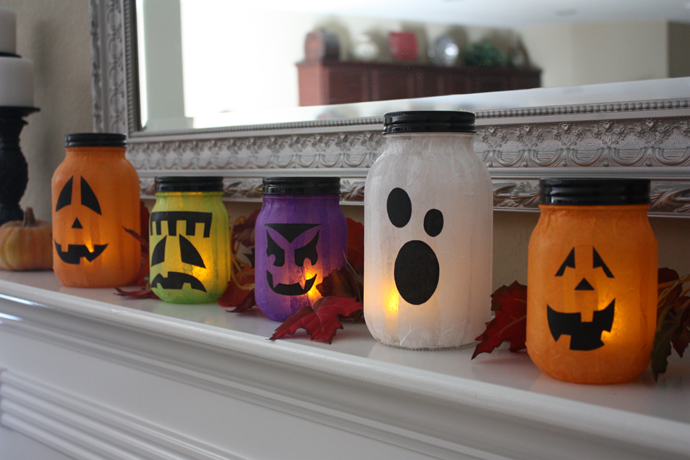 mason jar jack o lanterns - Home Made Halloween Decorations