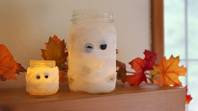 Mason Jar Mummy Votives