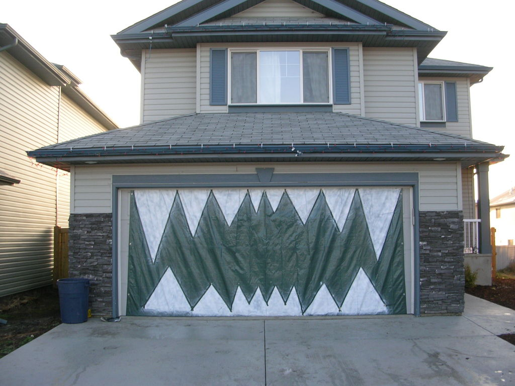 Halloween garage door decorations - Monster Garage Teeth