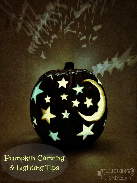 Moon and Stars Pumpkin Tutorial with Carving and Lighting Techniques