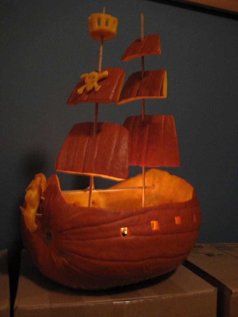 Ship in a Halloween Pumpkin