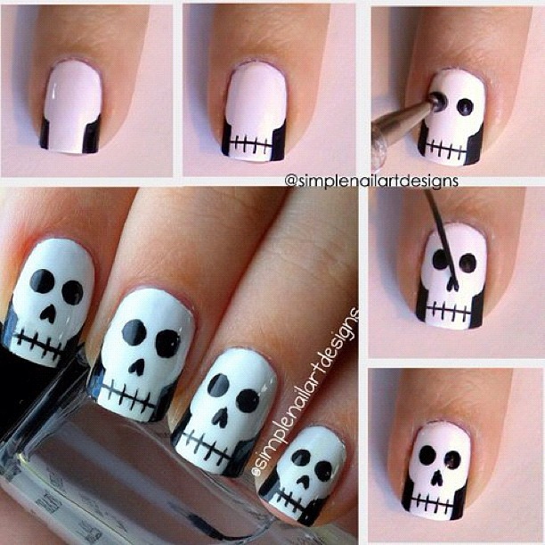 40 best halloween nail art inspirations for 2017 skull nail art prinsesfo Images