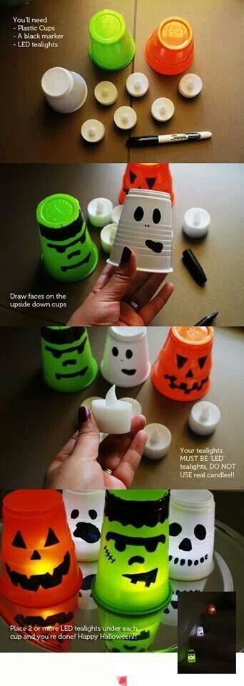 spooky halloween candle light cups - Homemade Halloween Centerpieces