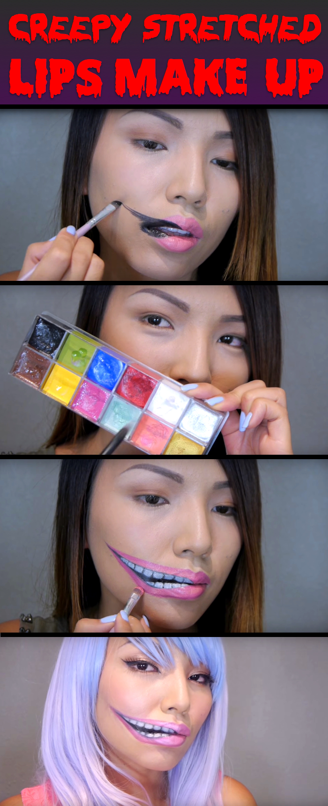Chic Yet Spooky Stretched Lips Makeup For Halloween