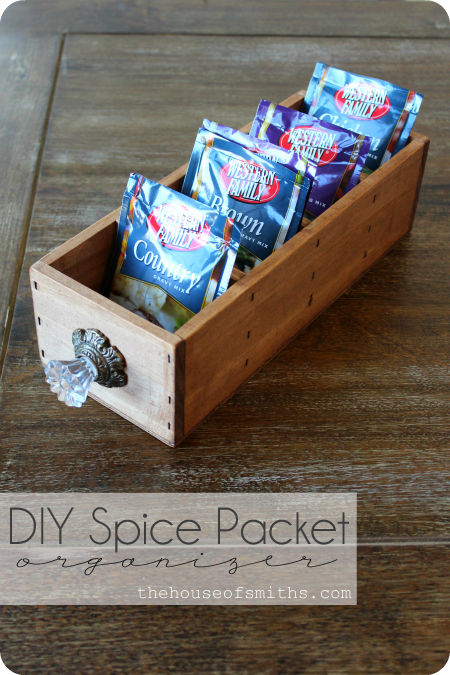 DIY Spice Packet Organizer and Wooden Crates