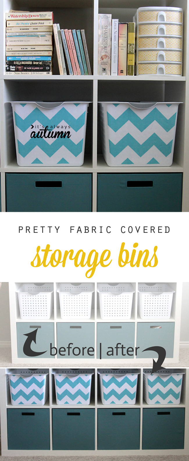 Easy DIY Fabric Covered Storage Bins