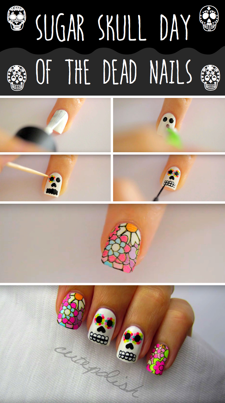 Get Some Fearsome Fingertips for Halloween With This Sugar Skull Nail Art - Get Some Fearsome Fingertips For Halloween With This Sugar Skull